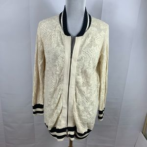 Free people varsity style lace zip up sweater
